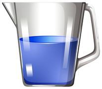 Blue substance in glass beaker - stock illustration