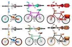 Different kind of bicycles - stock illustration