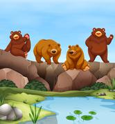 Grizzly bears living by the pond - stock illustration