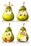 Fresh pear with facial expressions - stock illustration