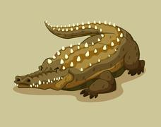 Crocodile with spikes on the back - stock illustration