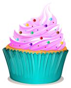 Cupcake with spinkles decoration - stock illustration