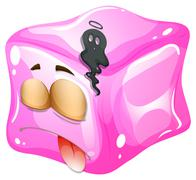 Deadly face on ice cube - stock illustration