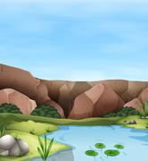 Scene of cliff and pond - stock illustration