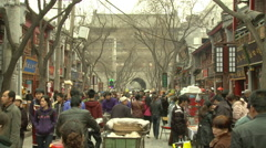 Crowds in Muslim Quarter, Xian, China Stock Footage