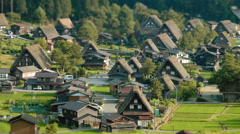 Shirakawa Time Lapse Tilt Shift with People Stock Footage