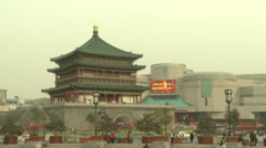 Xian Drum Tower, traffic, China Stock Footage