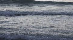 4K Closeup sea wave splash beach ocean force sunset twilight rolling crash day   Stock Footage