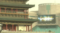 China old and new, Xian Drum Tower Stock Footage