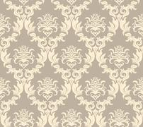seamless damask pattern - stock illustration