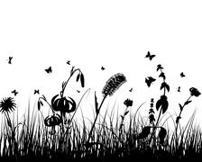Stock Illustration of meadow silhouettes