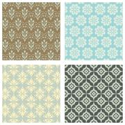 Seamless Wallpaper Pattern Set - stock illustration