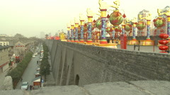 Ancient City Wall, Xian, China Stock Footage