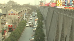 Quiet street, Ancient City Wall, Xian, China Stock Footage