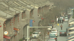 Xian street, traditional buildings, traffic Stock Footage