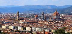 Italy FLORENCE panoramic view with dome bell tower Stock Photos