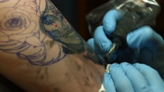 Sugar Skull Tattoo In Progress Stock Footage