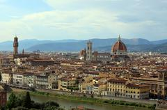 FLORENCE in Italy with the dome and arno river - stock photo