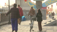 Chinese family walking on Xian City Wall Arkistovideo