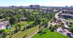 Aerial view of residential area with luxury homes. - stock footage
