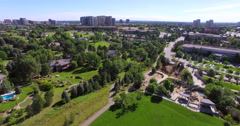 Aerial view of residential area with luxury homes. Stock Footage