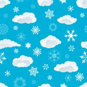 Seamless snowflakes and clouds Stock Illustration