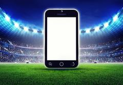 Football stadium with editable empty cell phone display Piirros