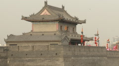 Watchtower on Xian City Wall, China Stock Footage