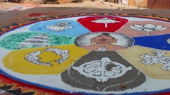 Buddhist mandala on the street in Kirtipur, Nepal Stock Footage