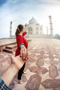 Follow me to Taj Mahal Stock Photos