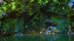 Water Drizzling down a Cliff Face into a Pond Stock Footage