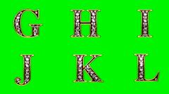 Stock Video Footage of loop diamonds alphabet set. green chromakey