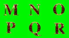 loop golden alphabet with rubies - stock footage
