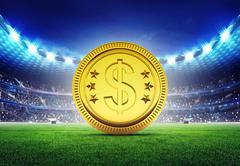 Football stadium with golden Euro coin Stock Illustration