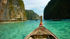 Weathered Deck of a Wooden Boat and Clear Waters of Phi-Phi Island Stock Footage