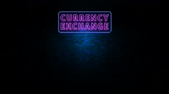 Currency Exchange Neon Sign Flickering Stock Footage