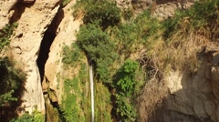 Beautiful Aerial view of Waterfalls at EIN GEDI, ISRAEL in 4k - stock footage