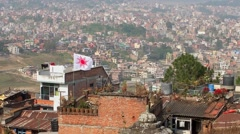 Kathmandu city skyline as seen from Kirtipur, Nepal Stock Footage