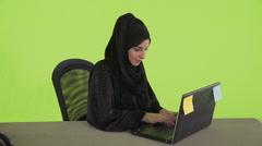 Portrait of Arab businesswoman using laptop. Stock Footage