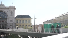 The refugee transit zone in budapest Stock Footage