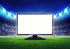 football stadium with empty editable tv screen frame - stock illustration