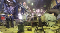 Reconstruction works with steam turbine unit in power plant - stock footage