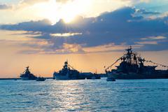 Row of military ships Stock Photos