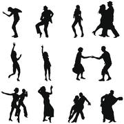 dance silhouette set - stock illustration