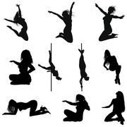 erotic silhouette set - stock illustration