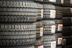Stack of new tires - stock photo
