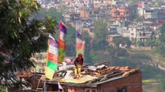 Unidentified Neplaese woman working in Kirtipur, Nepal. Stock Footage