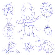 Insects sketch decorative icons set with dragonfly fly butterfly - stock illustration