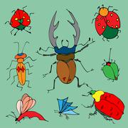 Set of colorful bugs. Drawing of beetles. Insect on the green ba Stock Illustration