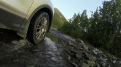 Heavy mountain road passing in tundra forest, vehicle driving, pov, Khibins mass Stock Footage